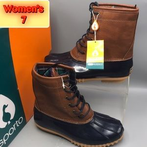Sporto Women's Duck Boot brown and blue Sz 7